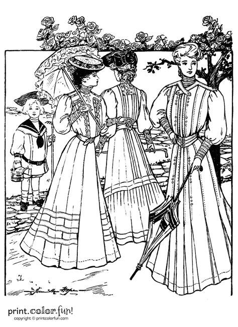 vintage dress coloring page dresses summer 1905