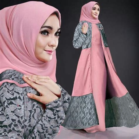 Gamis Murah Gamis Cardi Salur model gamis terbaru baju setelan cardigan muslim modis