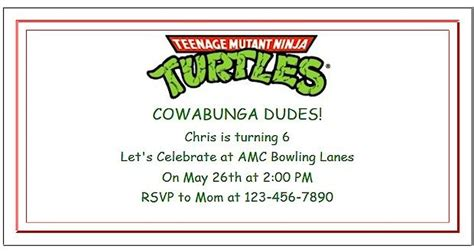 tmnt birthday card template mutant turtle ideas with invitations