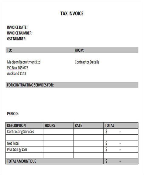 independent contractor receipt template 18 free contractor invoice sles sle templates