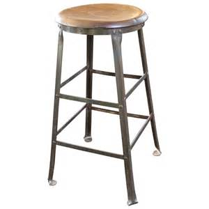 Metal And Wood Bar Stool Rustic Bar Stool Backless Kitchen Wood And Metal Bar Stool At 1stdibs