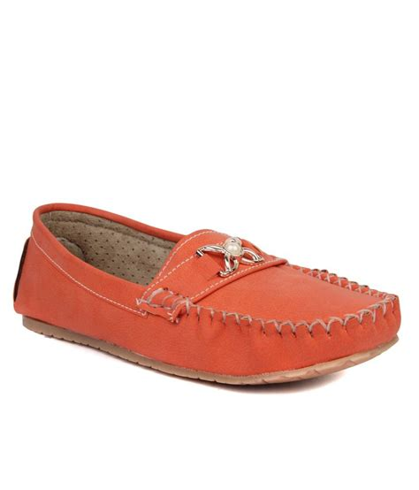 orange leather loafers vilax orange synthetic leather loafers price in india buy