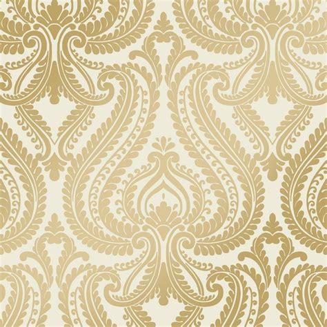 wallpaper gold print shimmer damask metalic wallpaper cream gold ilw980011