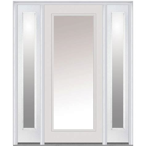 mmi door 60 in x 80 in clear glass left lite classic painted fiberglass smooth
