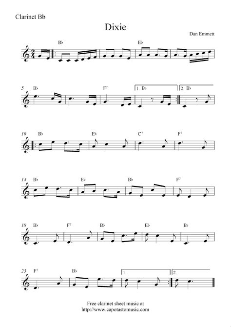 printable sheet music for clarinet dixie free clarinet sheet music notes