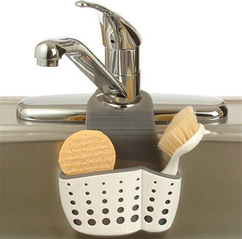 Kitchen Sink Supplies Adjustable Dish Brush And Sponge Holder Kitchen Sink Accessories Detroit By Organize It