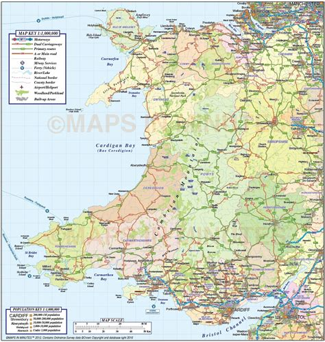 free printable uk road maps wales 1st level county road rail map 1m scale in