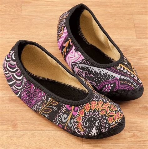 paisley pattern house shoes nufoot fuzzies ballet slippers ebay