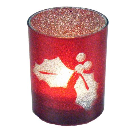 red silvered glittered holiday votive candle holder