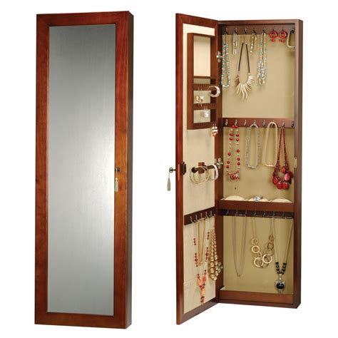 Jewelry Armoire Cabinet by New Walnut Wall Mounted Jewelry Armoire Wall Cabinet With Lock And Key Ebay