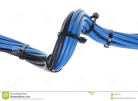 blue and black electrical wires with cable ties stock