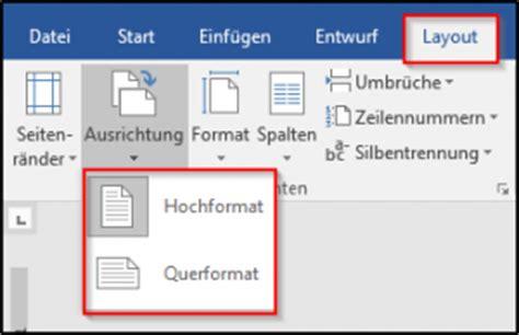 word layout querformat wie kann ich in word eine seite in das querformat drehen
