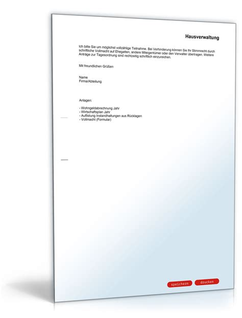 Musterbriefe Einladung Einladung Zu Einer Eigent 252 Merversammlung Musterbrief Sofort Zum