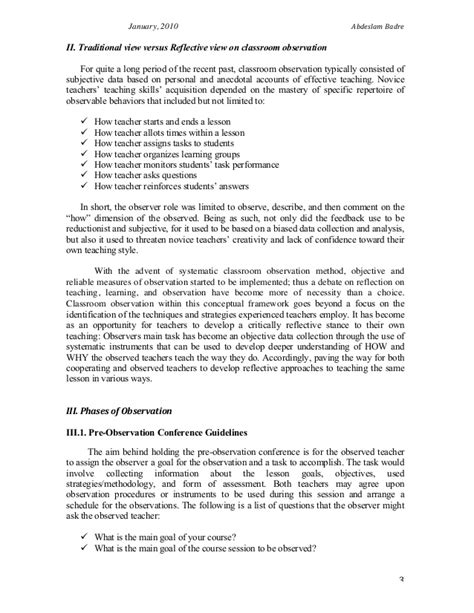 Class Observation Essay by Class Observation Report Essay
