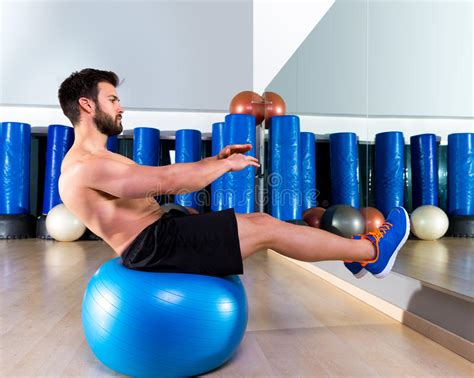 fitball abdominal balance crunch swiss stock photo image 40979241