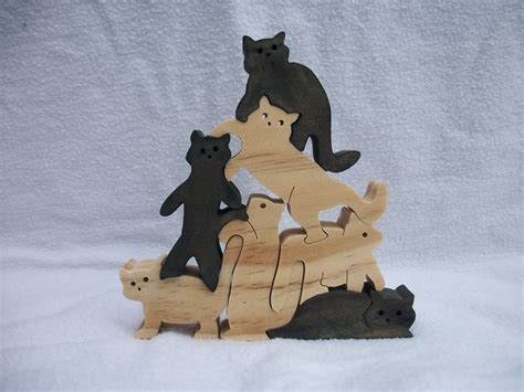 jigsaw patterns woodworking wooden jigsaw puzzle stacked cats free standing