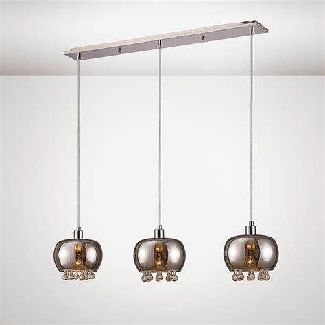 Ceiling Light Bar Diyas Pandora 3 Light Bar Ceiling Pendant In Black Chrome And Clear Finish Lighting