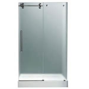 Glass Shower Doors Home Depot Vigo 59 75 In X 74 In Frameless Pivot Shower Door In Stainless Steel With Frosted Glass And