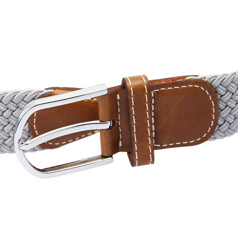 s leather covered buckle woven braided elastic stretch