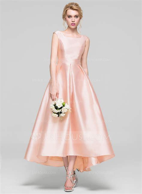 Dress Model A Line a line princess scoop neck asymmetrical satin bridesmaid