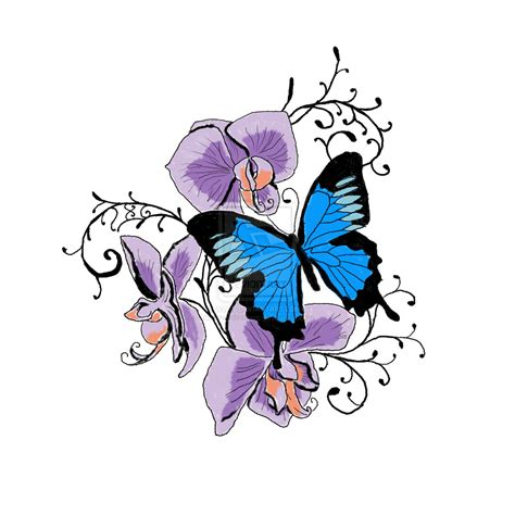 purple orchid tattoo designs purple orchid and butterfly by enviedesigns on