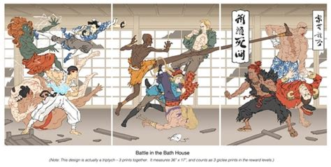 bathtub battles jed henry print battle in the bath house print set