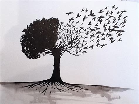 drawn crow tree drawing pencil and in color drawn crow