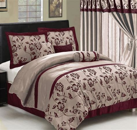 burgundy comforter queen 7 pc flocking floral satin comforter set bed in a bag