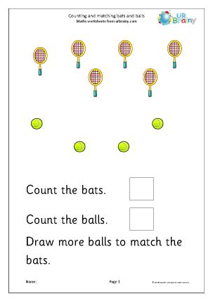 Count And Draw Worksheets by Count And Draw More To Match Bats And Balls Counting And
