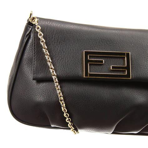 Fendi Clutch Black fendi clutch bag mini the sta crossbody leather with chain in black black out of stock lyst