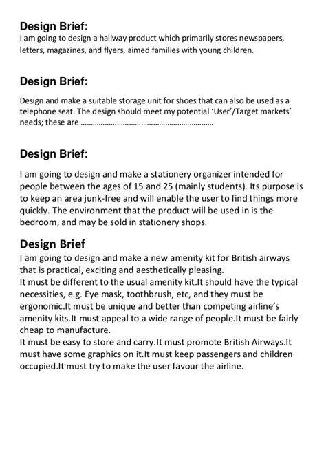 design brief in product design design brief sles