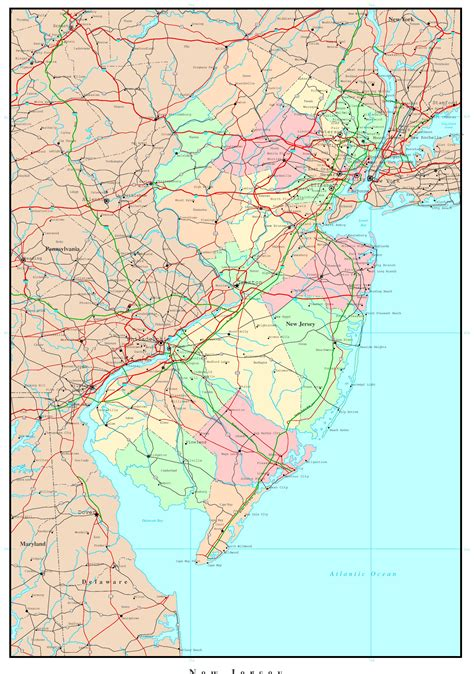 map new jersey new jersey political map
