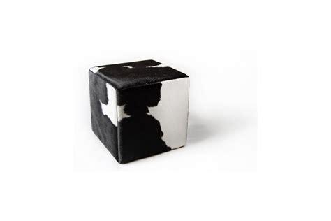 cowhide ottoman cube cowhide cube pouf ottoman black white fur home