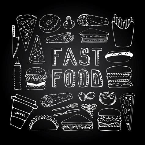fast food doodle vector fast food doodle set stock vector image 58696869