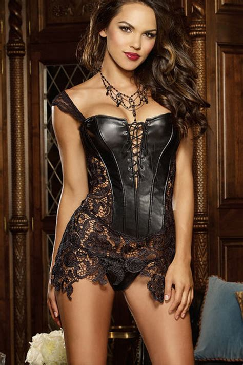 Braset With Femme Color Steel Blue seductress black leatherette and floral lace corset