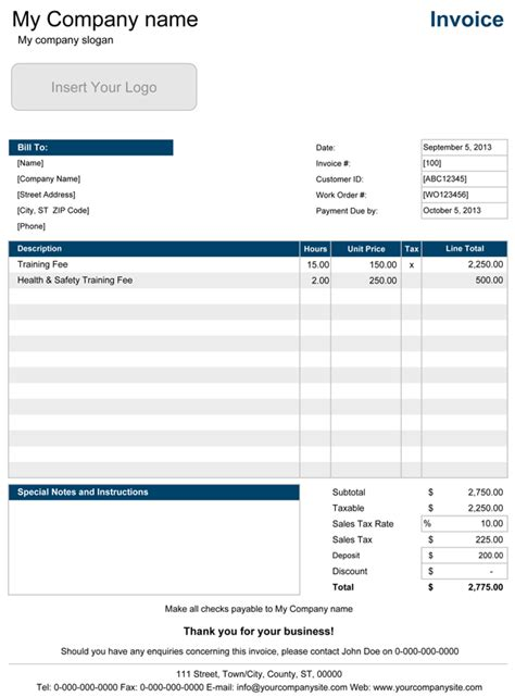 service invoice templates  excel