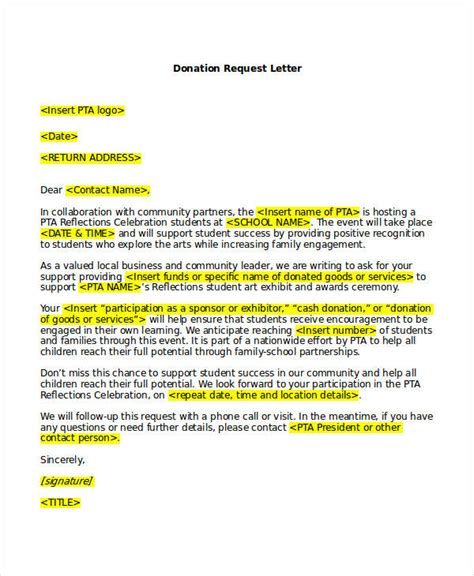 Business Letter Template Asking For Donations request letter templates 11 free sle exle format