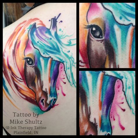 watercolor horse tattoo my watercolor paint done by mike shultz
