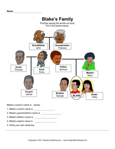 printable family tree esl esl family members worksheet quotes