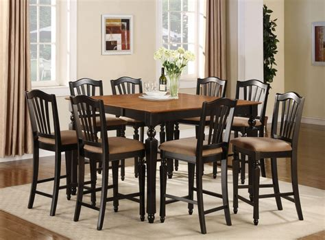 9pc square counter height dining room table w 8 microfiber