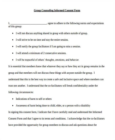 counselling consent form template 38 counseling forms in pdf