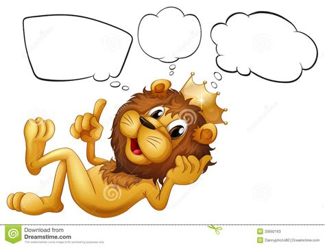 a lion with a crown thinking stock photos image 33692163