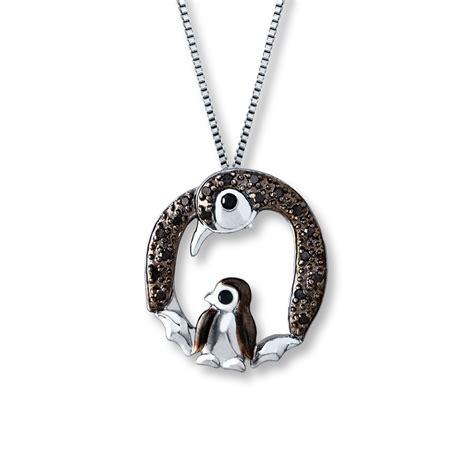 kayoutlet penguin necklace 1 10 ct tw black diamonds