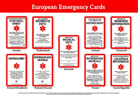 emergency information card template emergency cards sos
