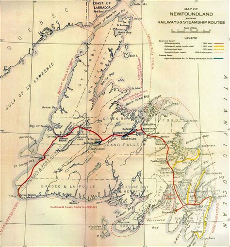 newfoundland map map of newfoundland showing railways and steamship routes 1933