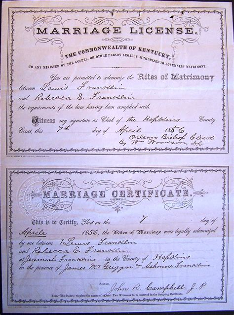 Franklin County Marriage License Records Lewis Franklin Franklin Marriage License Certificate