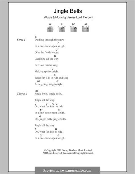 printable lyrics jingle bells jingle bells printable scores by j l pierpont sheet