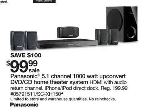 panasonic dvd home theater sound system at sears black