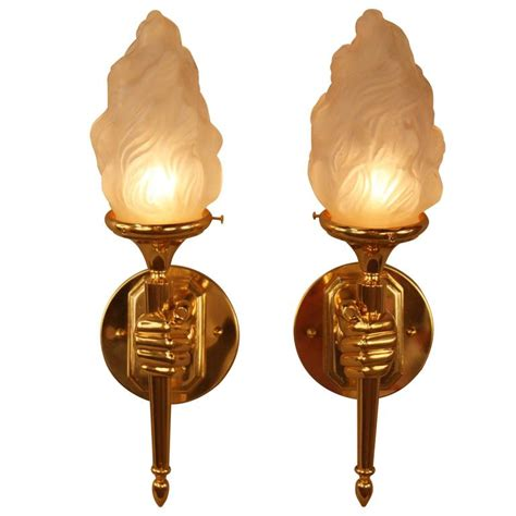 Torch Wall Sconce Bronze Hold Torch Wall Sconces For Sale At 1stdibs