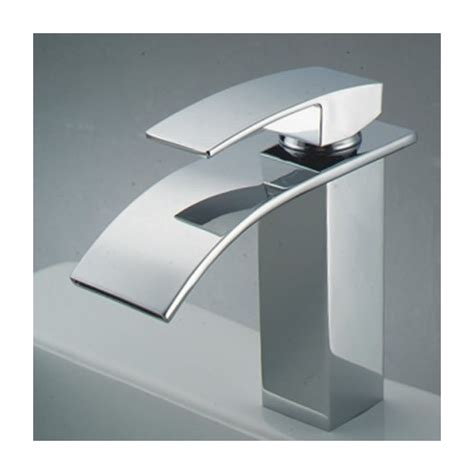 chrome finish single handle waterfall bathroom sink faucet